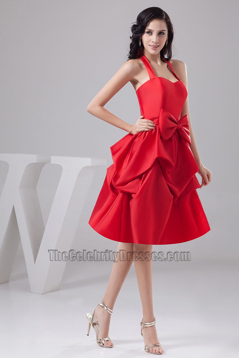 Red knee length halter taffeta cocktail party graduation dresses red knee length halter taffeta cocktail party graduation dresses thecelebritydresses ombrellifo Images