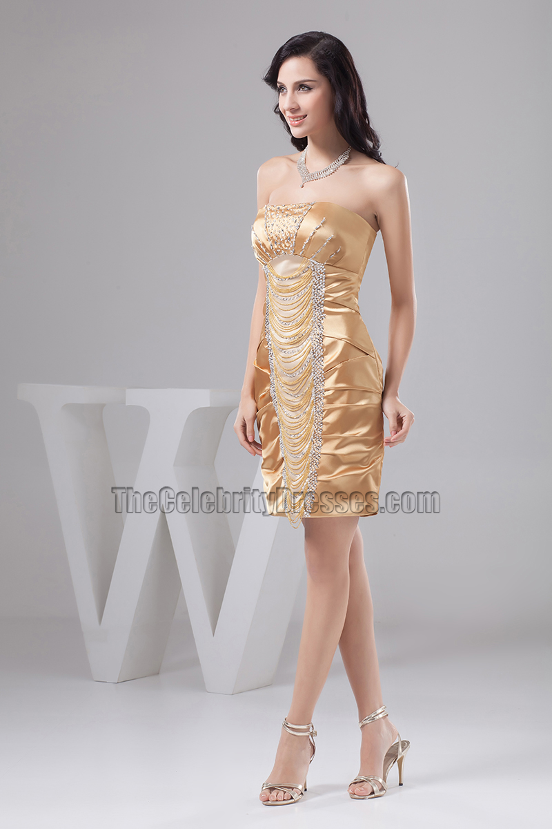 Gold Short Strapless Cocktail Party Dress With Beadwork ...