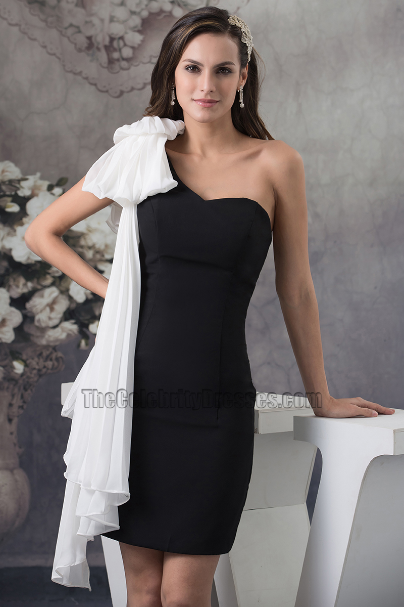 4b6df055f8e White And Black One Shoulder Cocktail Party Homecoming Dresses -  TheCelebrityDresses