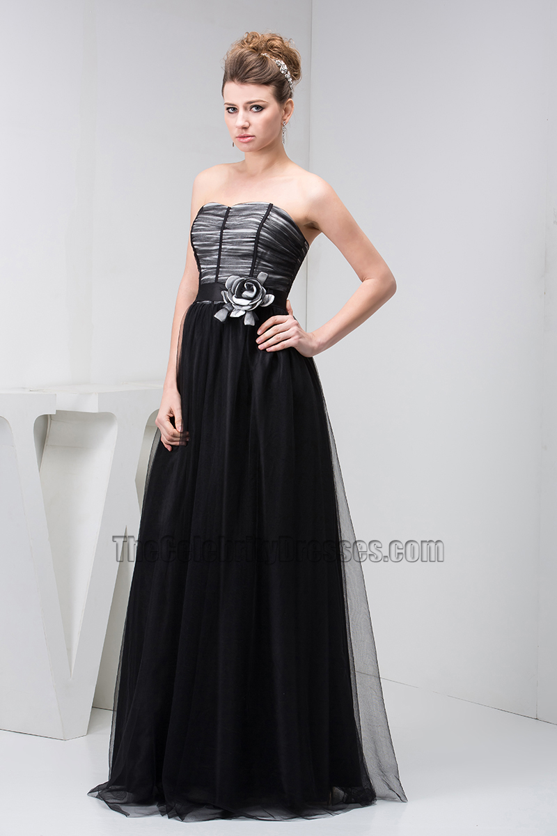 Classic Black Strapless Tulle Formal Dress Prom Evening Gown - TheCelebrityDresses