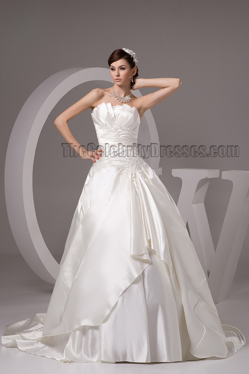 Classic chapel train strapless a line lace up wedding for Plus size wedding dresses cleveland ohio