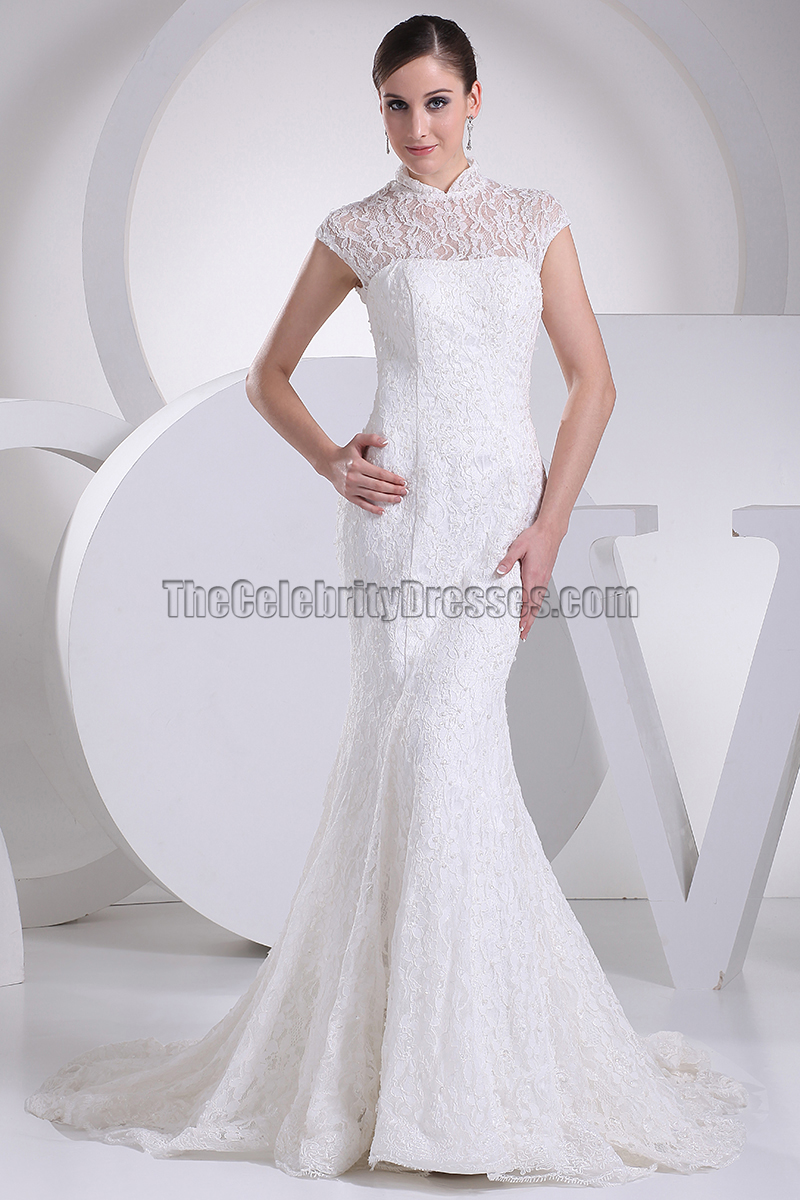 Classic High Neck Lace Mermaid Wedding Dresses - TheCelebrityDresses