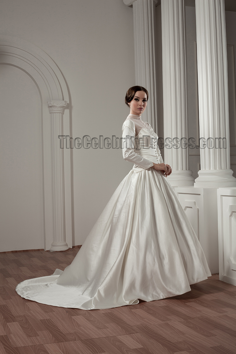 Classic Long Sleeve A Line Chapel Train Wedding Dresses