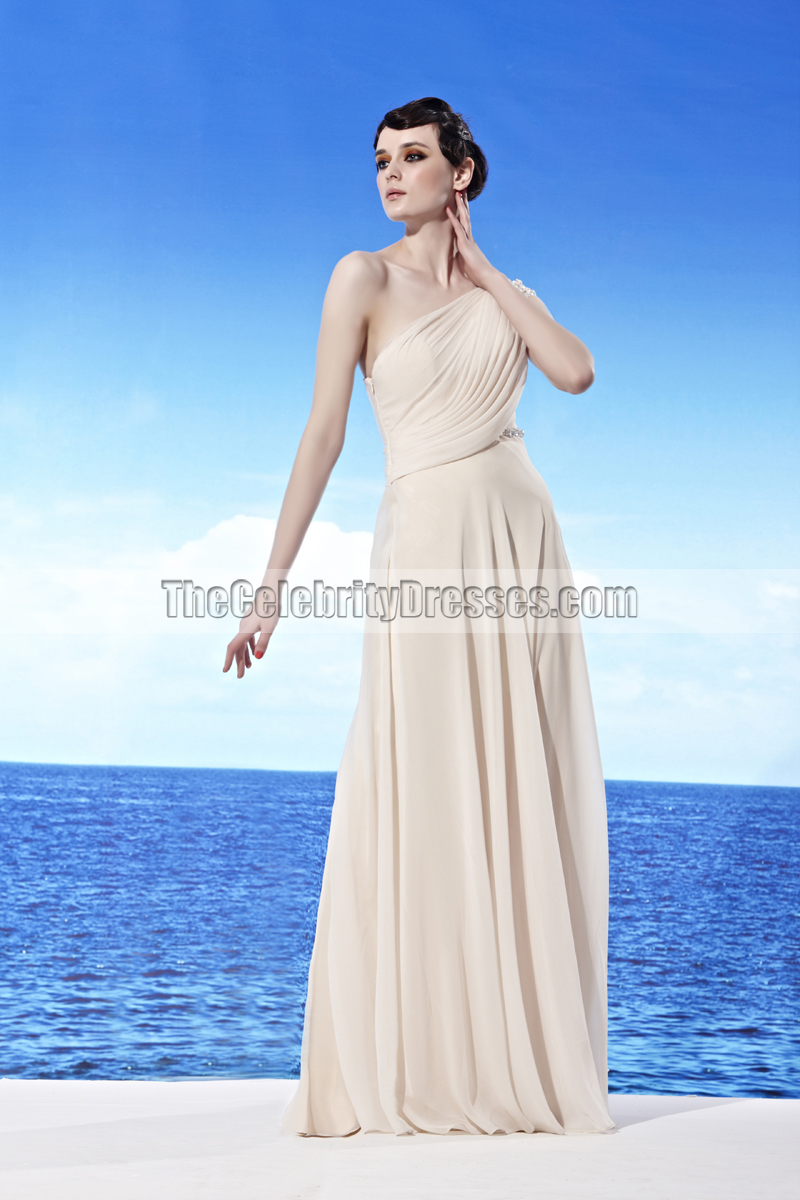 Cream Floor Length One Shoulder Beaded Prom Gown Evening Dress ...
