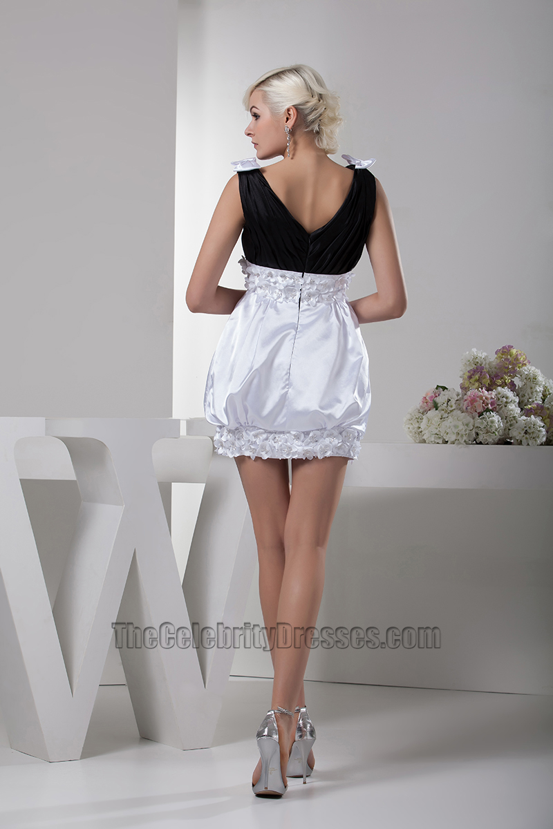 Cute Black And White V Neck Party Homecoming Dresses