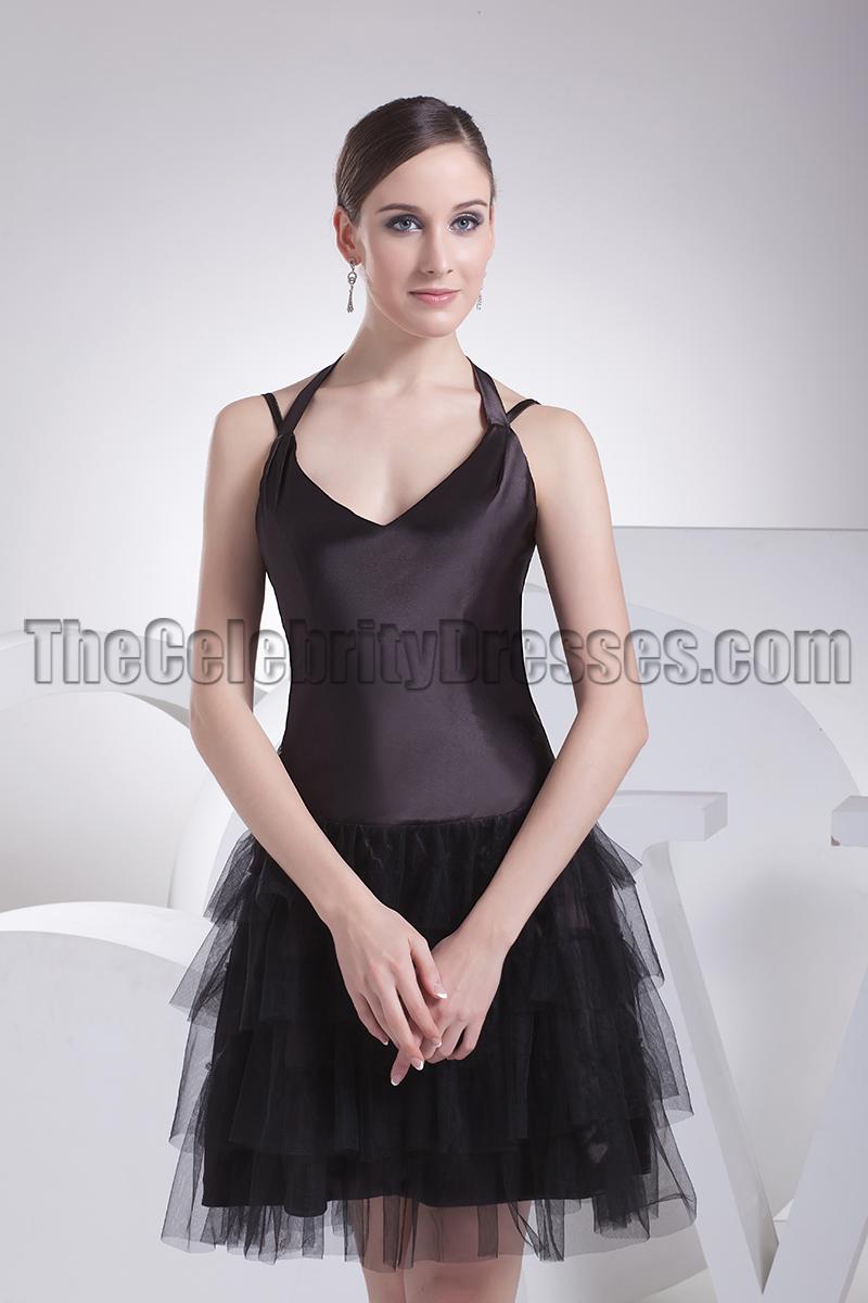 Cute Halter A Line Little Black Dress Party Dresses