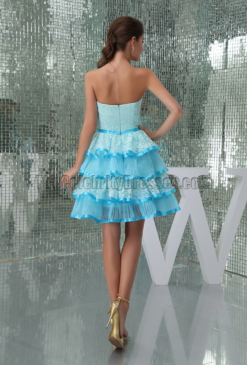 Cute Strapless Sweetheart Blue Party Homecoming Dresses ...