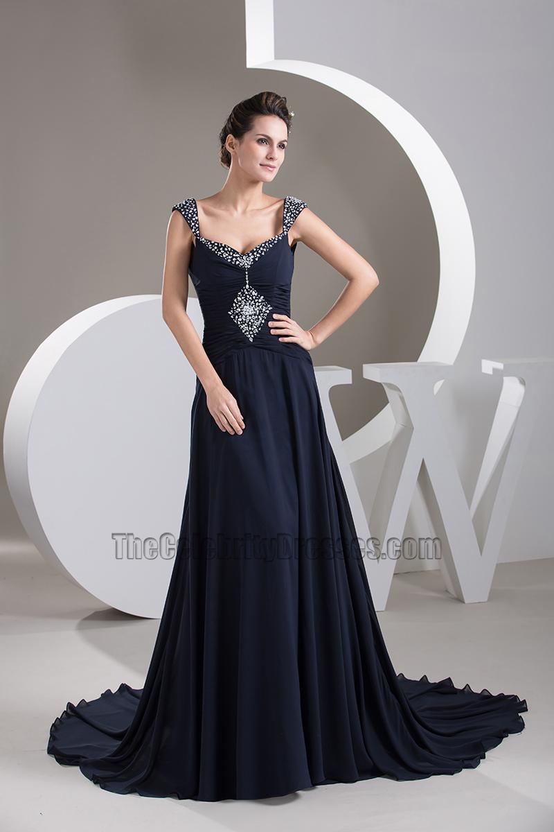 Dark Navy Chiffon Beaded Evening Dress Prom Gown - TheCelebrityDresses