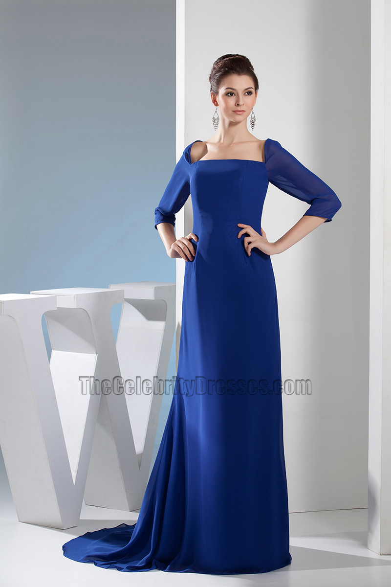 Dark Royal Blue Chiffon Formal Dress Evening Prom Gown ...
