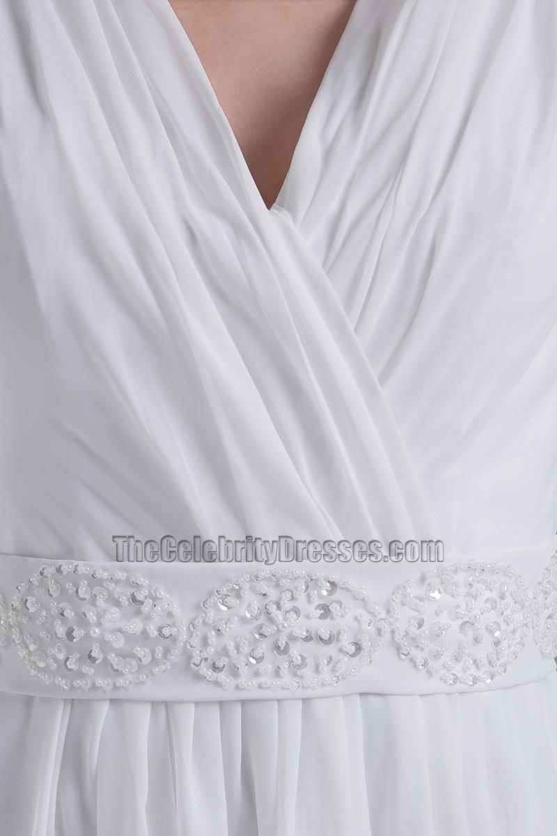 Discount chapel train a line chiffon v neck informal for Informal wedding dresses cheap