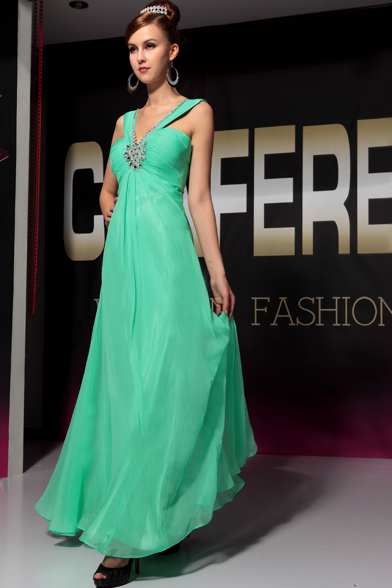 Discount Green Floor Length Beaded Bridesmaid Prom Dresses ...