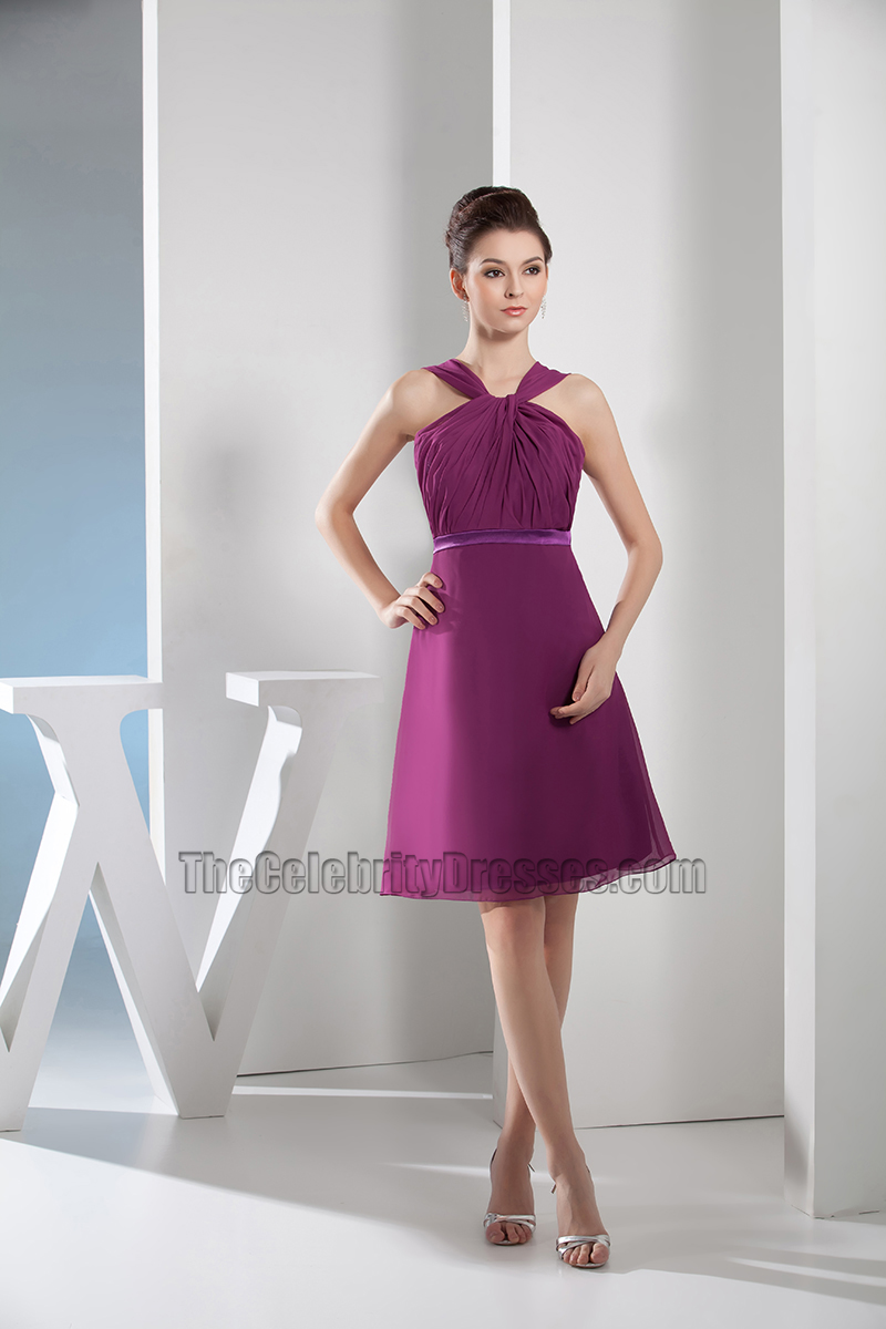 Discount Short Purple Chiffon A-Line Party Cocktail Dresses ...