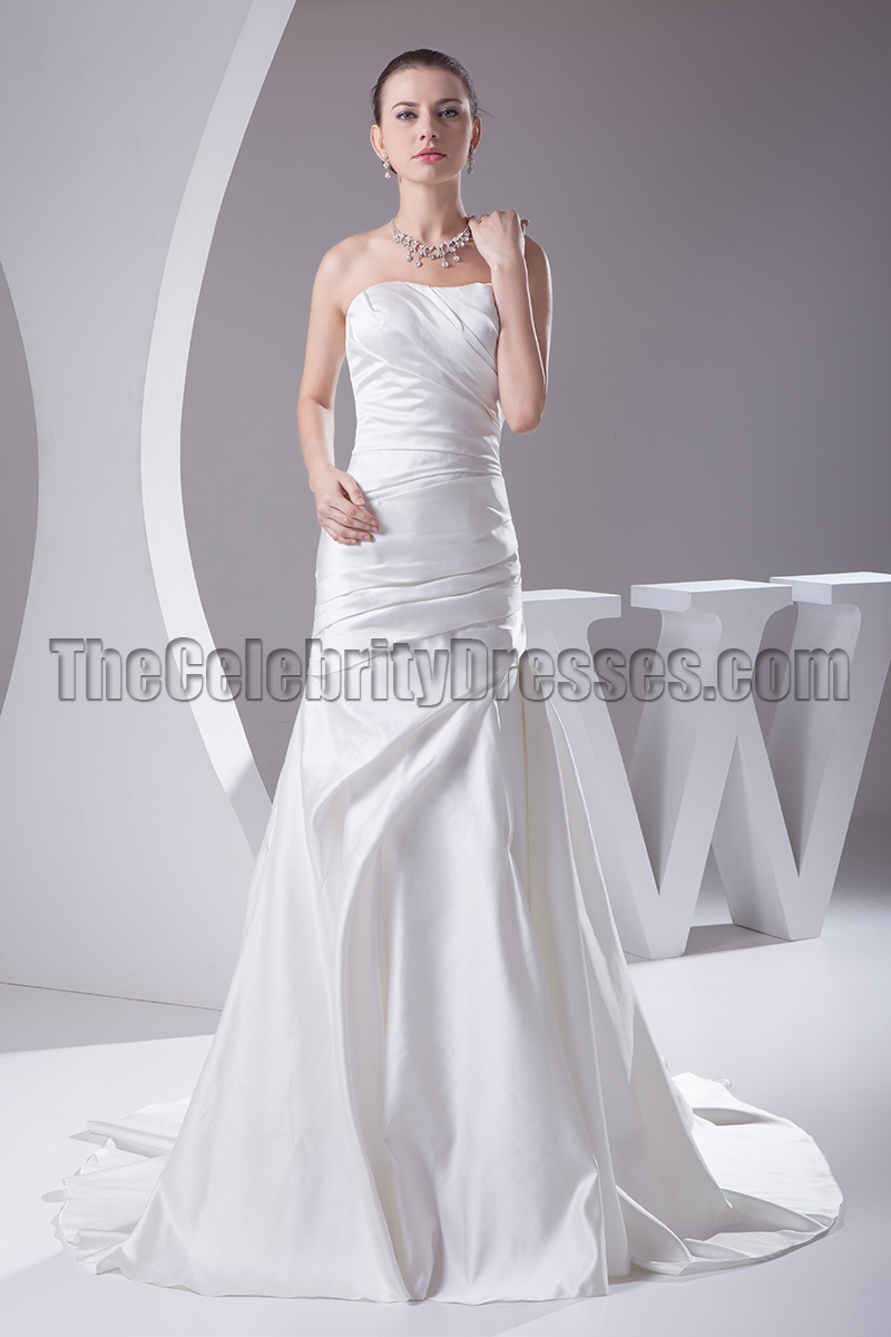 Discount Strapless Satin Mermaid Wedding Dresses - TheCelebrityDresses