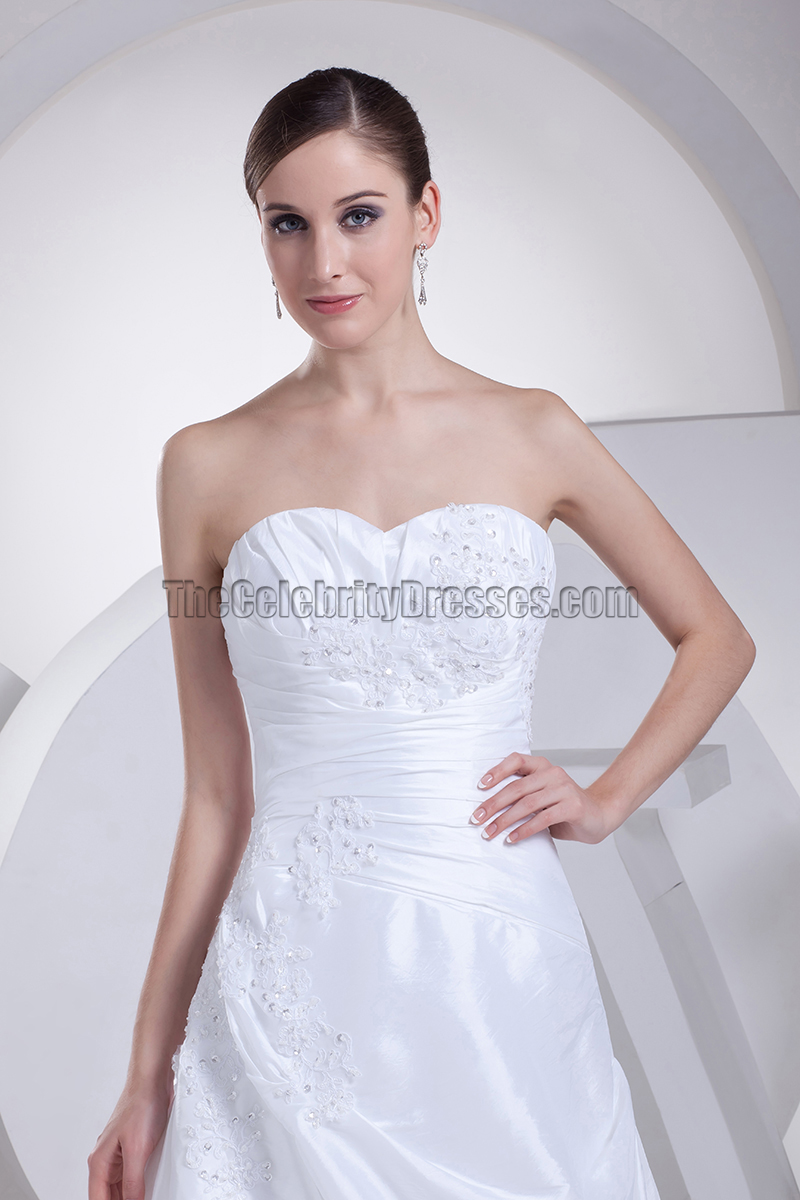 Discount white strapless taffeta a line wedding dresses for Strapless taffeta wedding dress