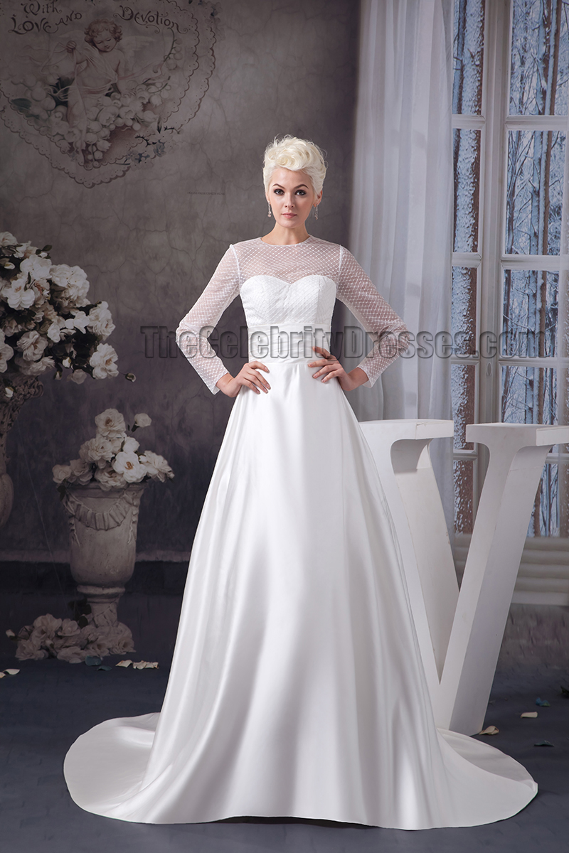 Celebrity Wedding Dresses Ireland : Line long sleeve chapel train wedding dresses thecelebritydresses