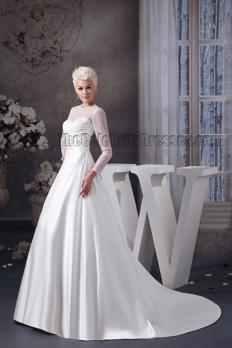Elegant A-Line Long Sleeve Chapel Train Wedding Dresses ...