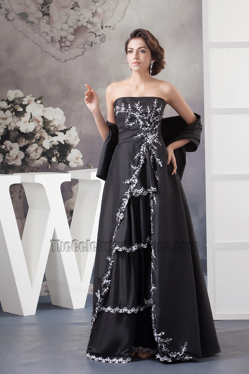Elegant Black Strapless Embroidery Formal Dress Prom Gown - TheCelebrityDresses
