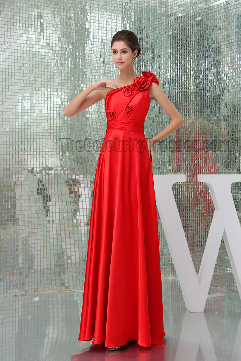 Red One Shoulder Floor Length Formal Dress