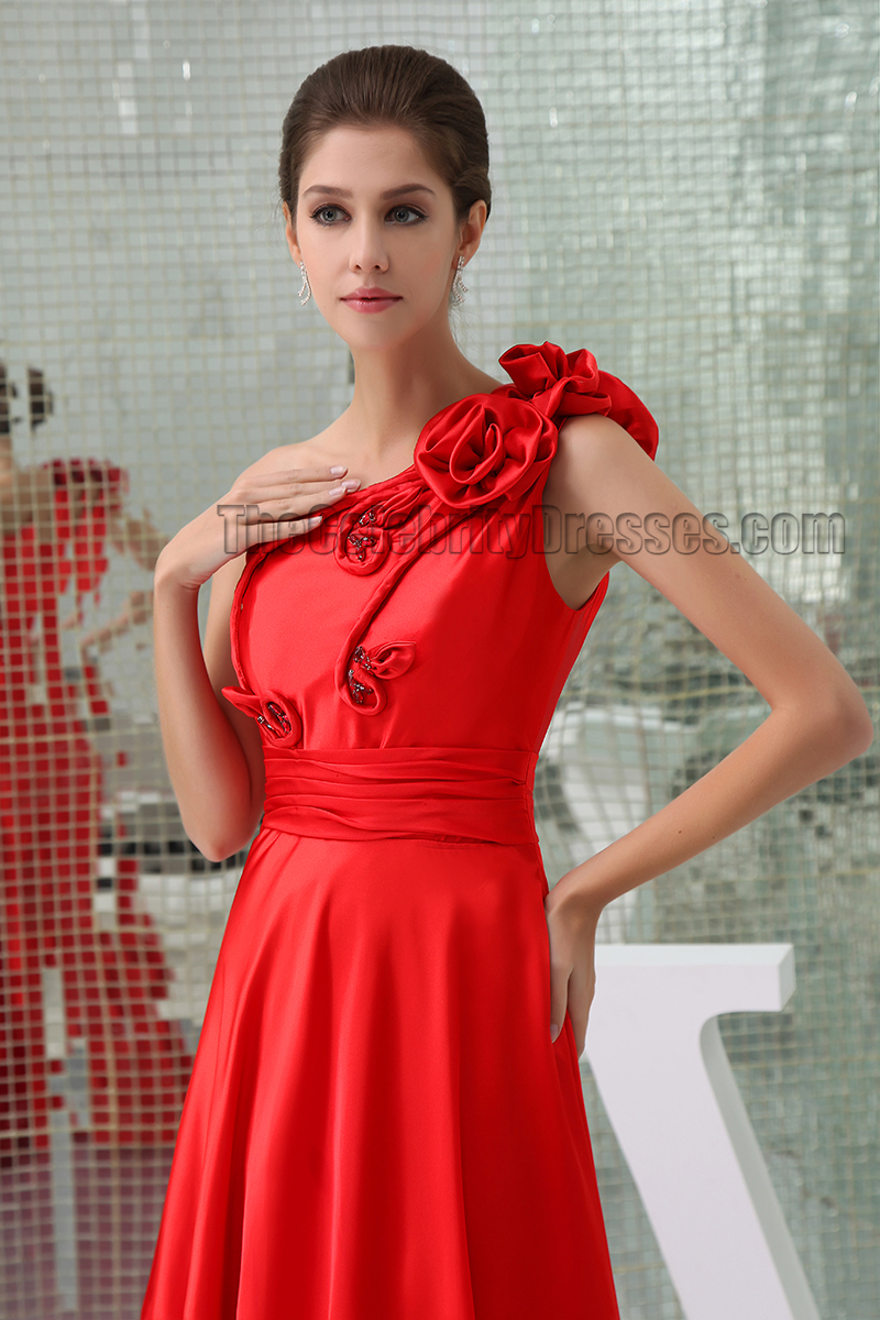 Floor Length Red One Shoulder Prom Gown Evening Dresses ...