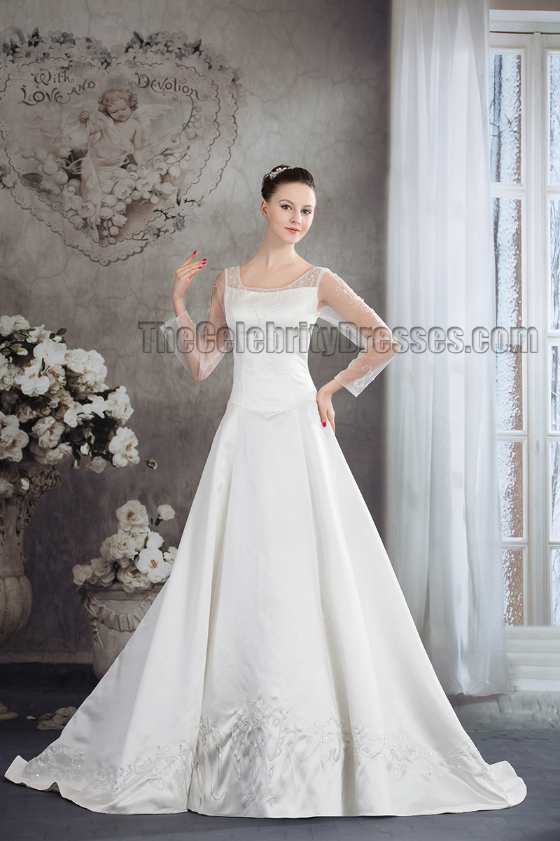 Elegant Long Sleeve Satin Chapel Trin Wedding Dress ...