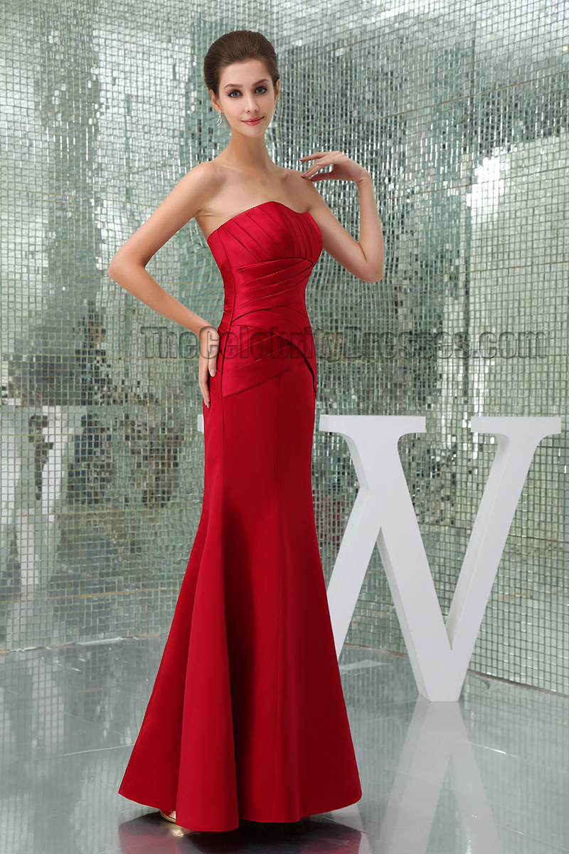 Elegant Red Strapless Prom Gown Evening Formal Dresses - TheCelebrityDresses