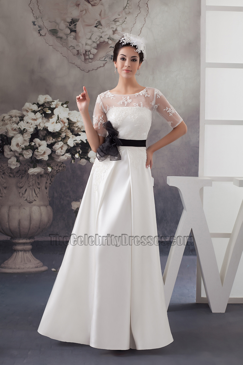 Elegant Satin Lace A-Line Wedding Dress With Black Belt ...
