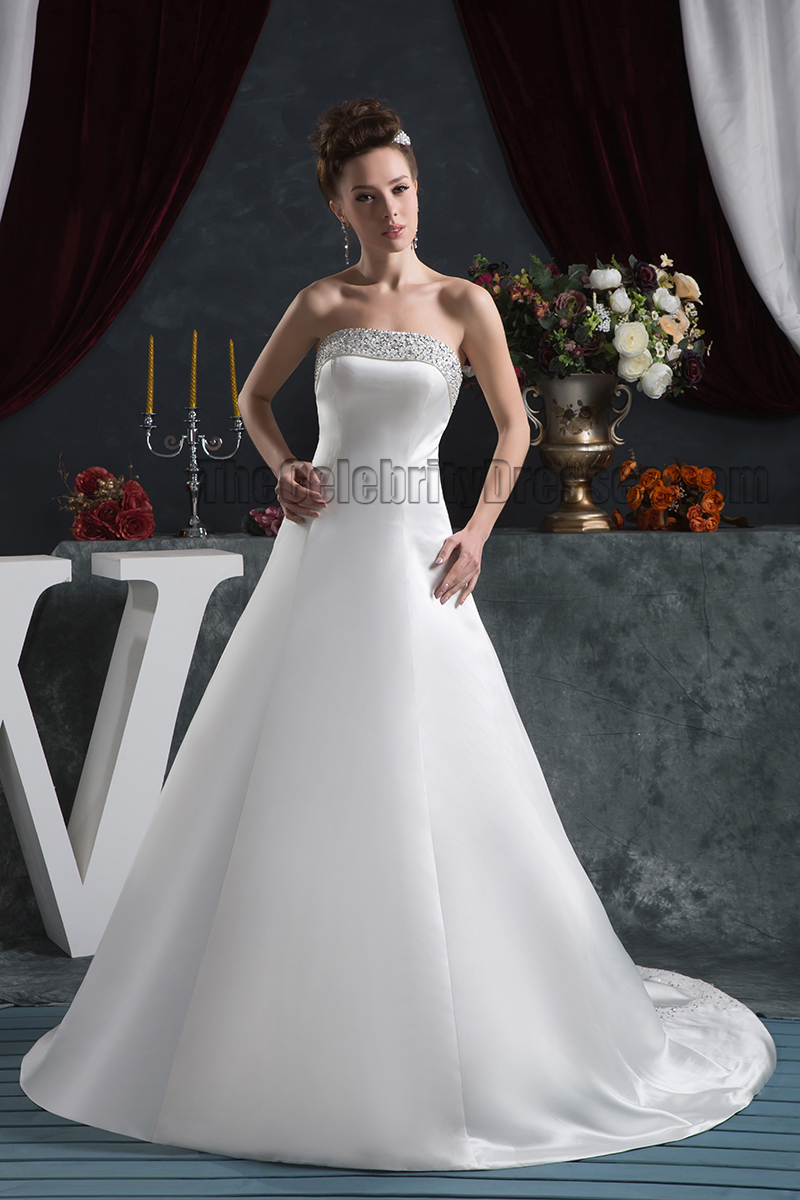Elegant Strapless A-Line Beaded Lace Up Wedding Dresses ...