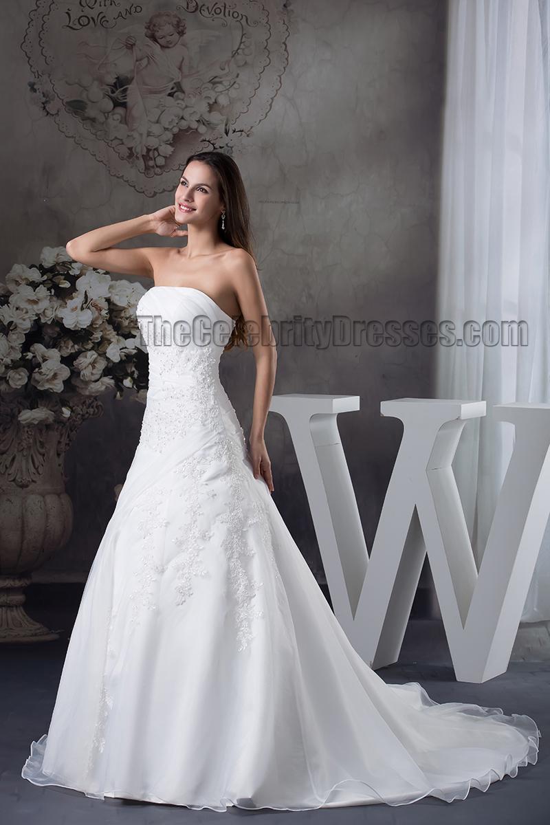 Elegant strapless a line chapel train embroidery wedding for Chapel train wedding dresses