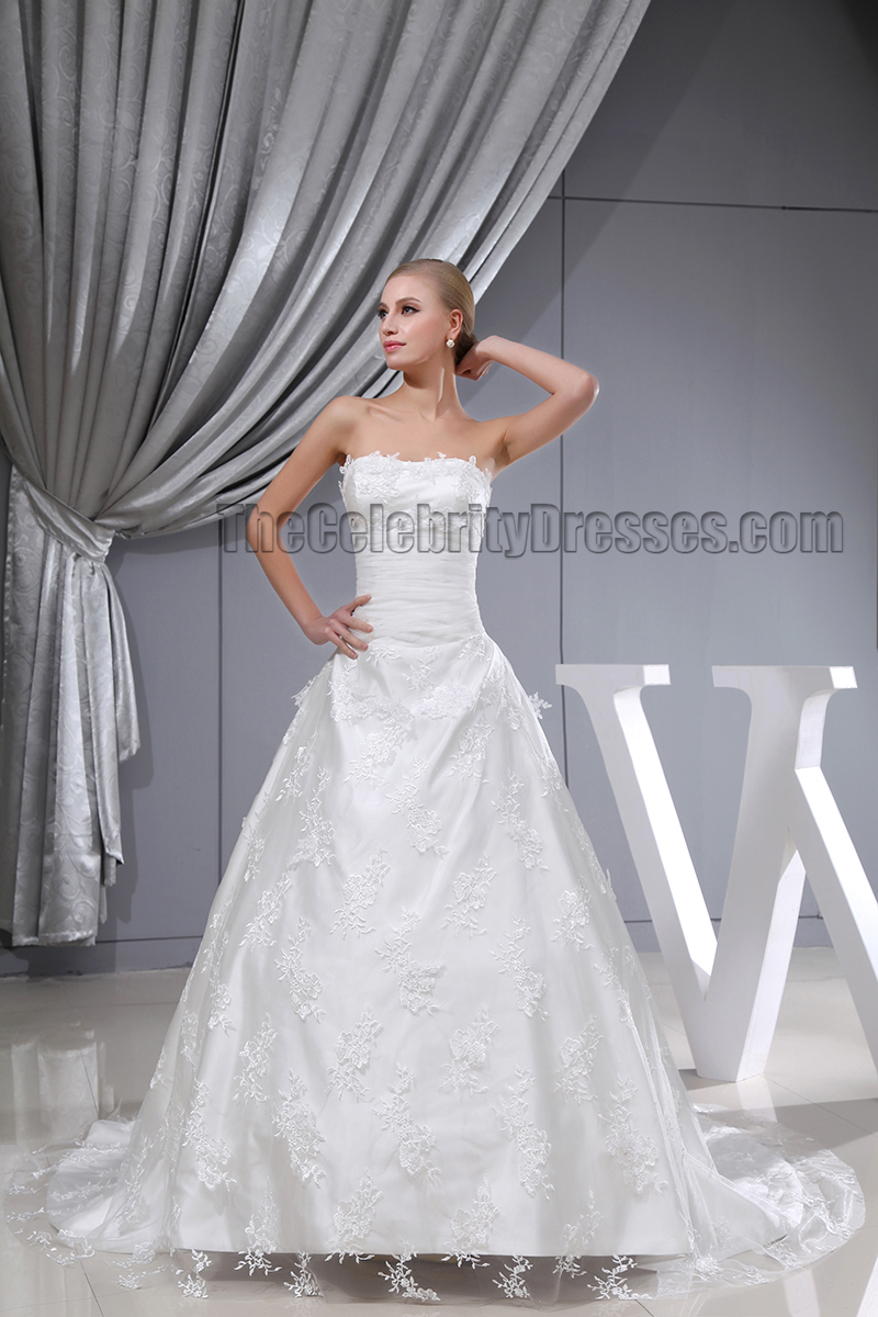 Elegant Strapless A-Line Lace Chapel Train Wedding Dresses ...