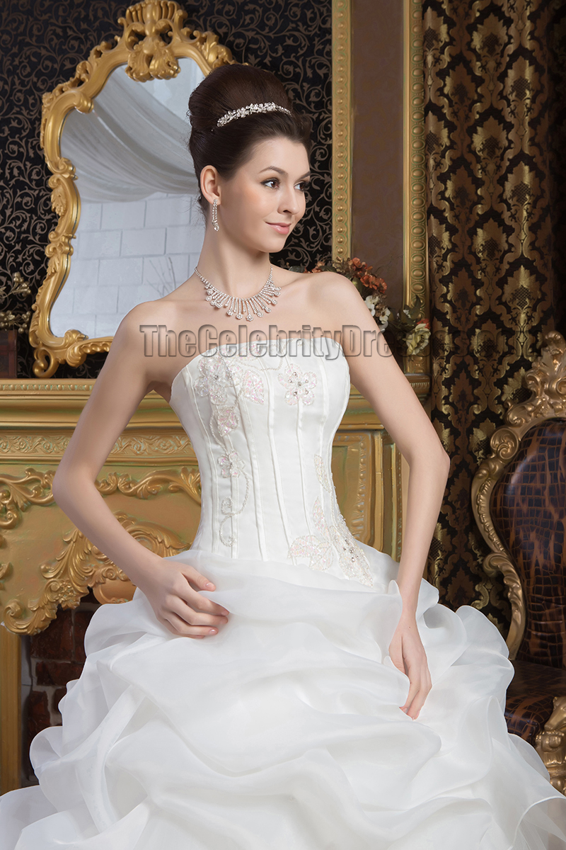 Elegant Strapless Ball Gown Embroidered Chapel Train Wedding Dresses ...