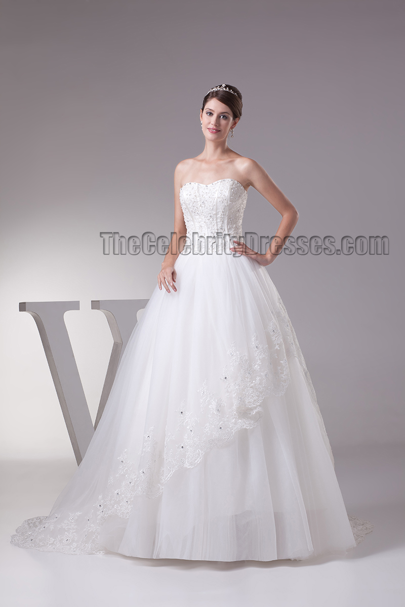 Elegant Strapless Beaded Ball Gown Chapel Train Wedding Dresses ...
