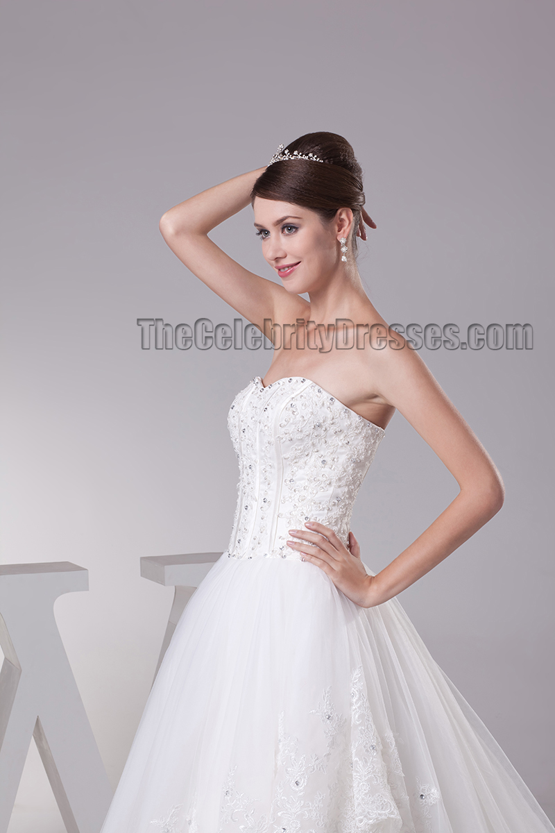 Elegant Strapless Beaded Ball Gown Chapel Train Wedding Dresses ...
