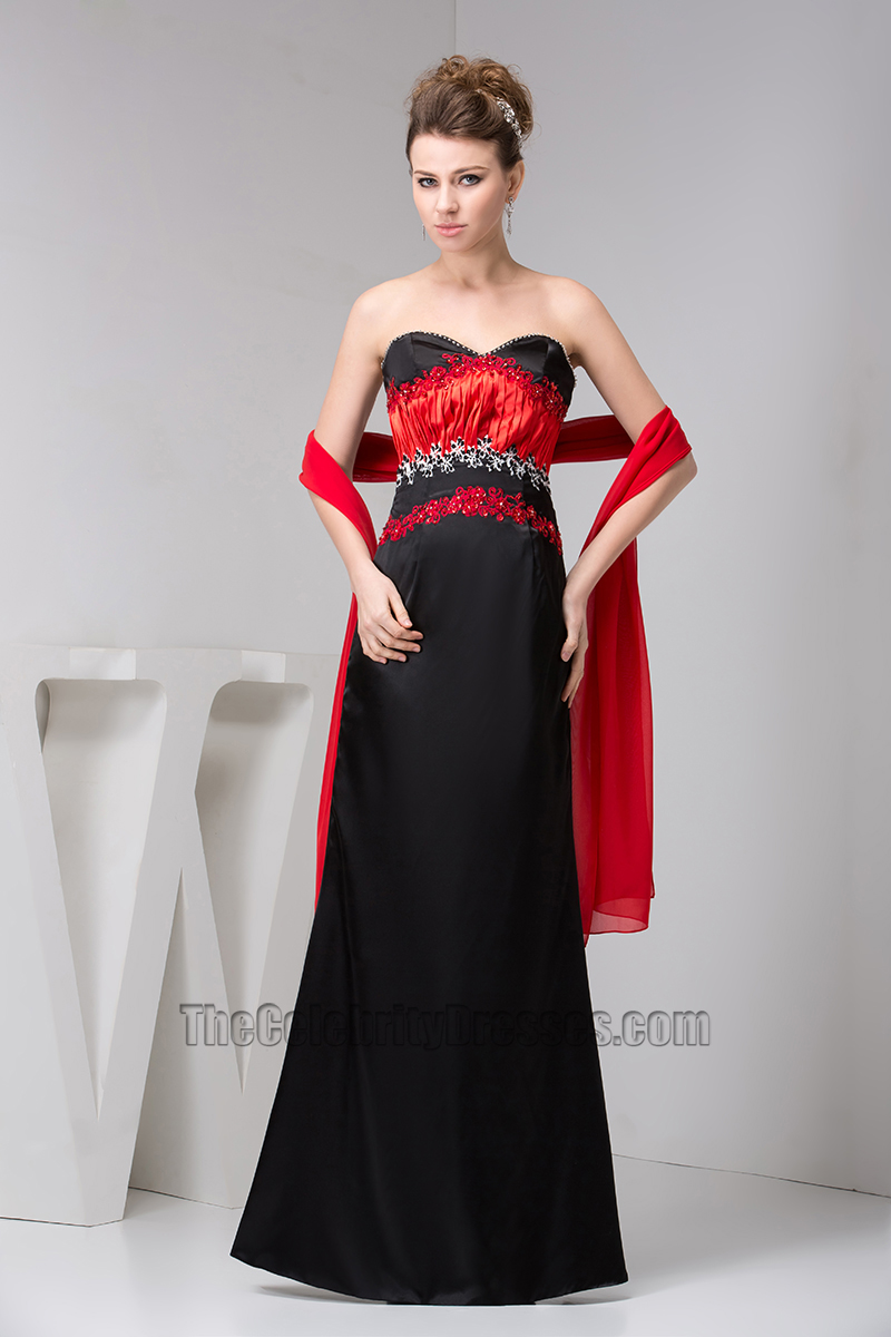 Elegant Strapless Red And Black Formal Gown Evening Dress ...