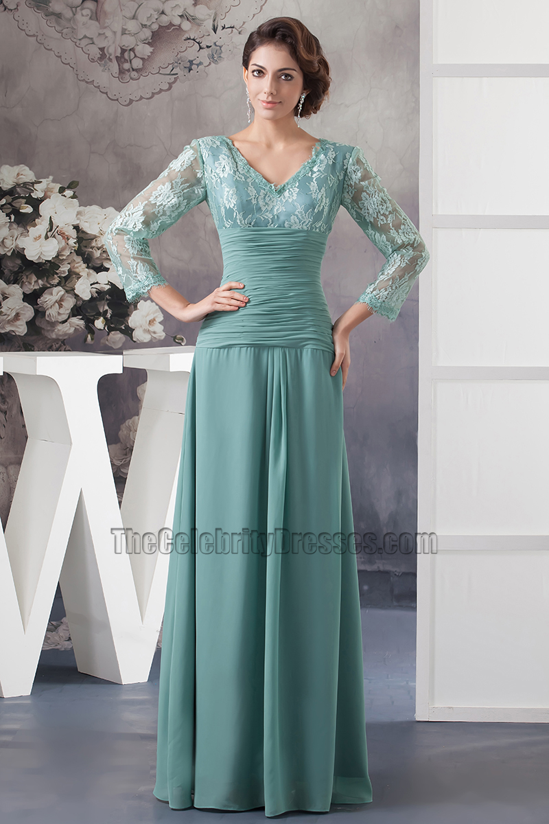 Elegant V-neck Lace Long Sleeve Formal Dress Prom Gown ...