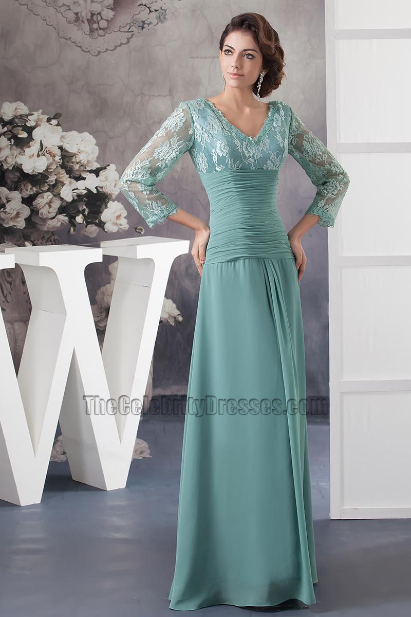 Elegant V-neck Lace Long Sleeve Formal Dress Prom Gown ...