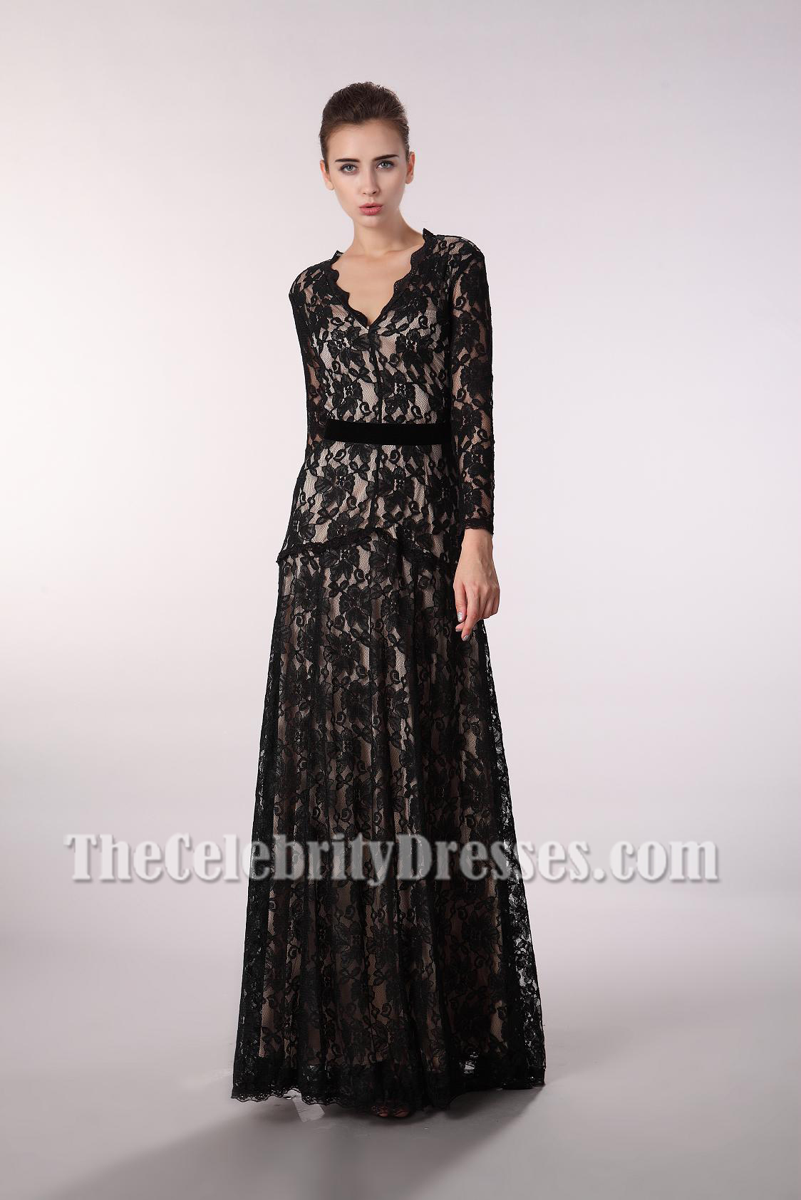 Floor Length Black Lace V-Neck Long Sleeve Evening Prom Dress ...