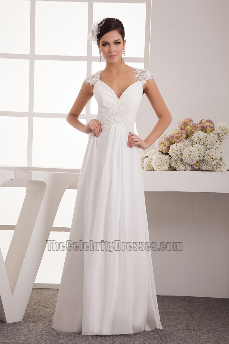Floor Length Chiffon Lace Cap Sleeve Wedding Dress Bridal Gown ...