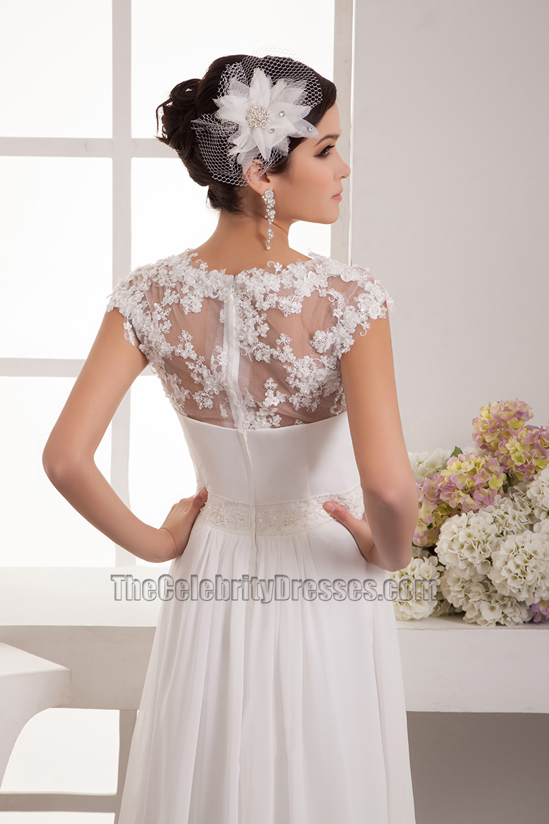 Floor Length Chiffon Lace Cap Sleeve Wedding Dress Bridal Gown Thecelebritydresses