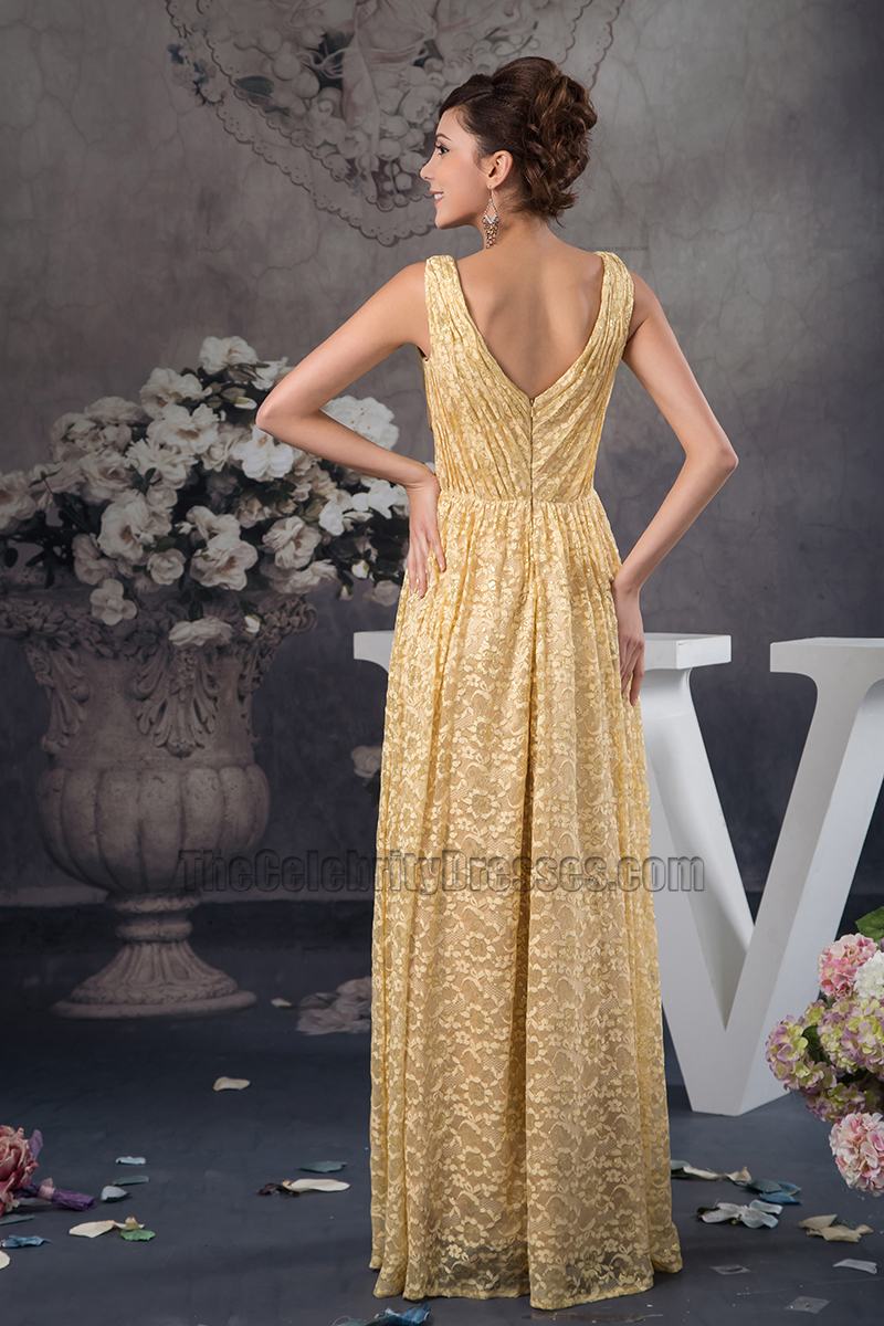 Floor Length Gold Lace V-Neck Formal Dress Prom Gown - TheCelebrityDresses
