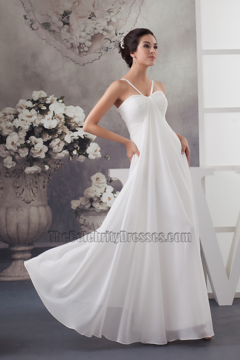 Floor length ivory chiffon beach wedding dresses for Beach chiffon wedding dress