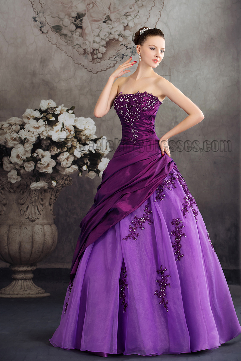 Floor length purple strapless embroidery a line formal for Wedding dress with purple embroidery