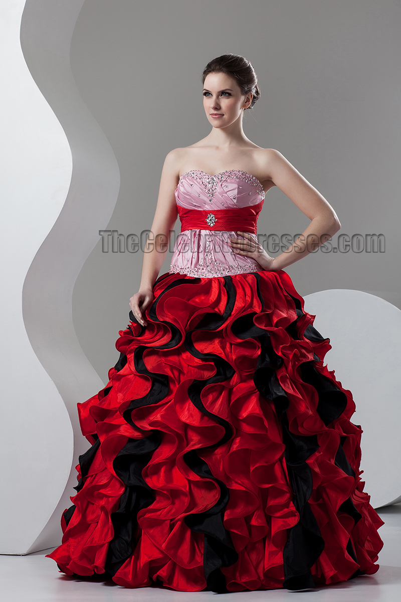 Floor Length Red Ball Gown Strapless Ruffles Wedding Dresses ...