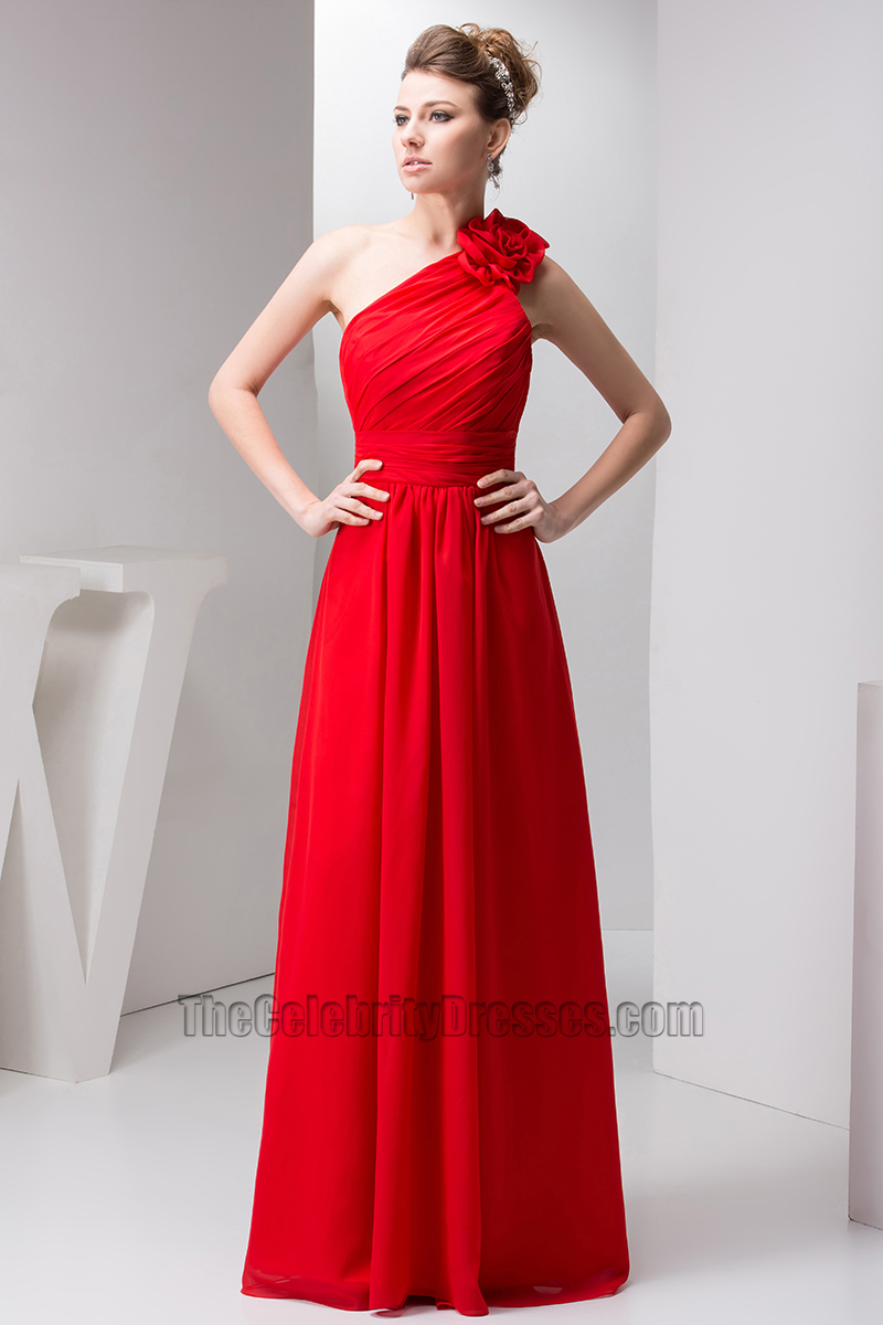 4a8fb159a0f Red One Shoulder Chiffon Prom Gown Bridesmaid Dresses ...