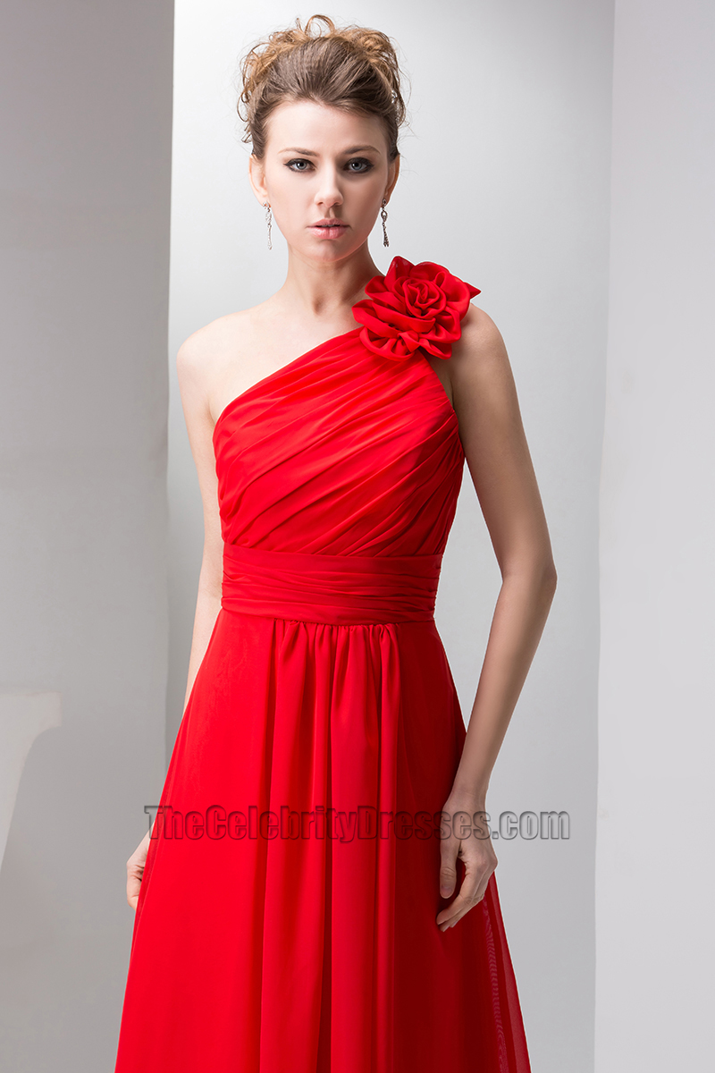 Red One Shoulder Chiffon Prom Gown Bridesmaid Dresses ...