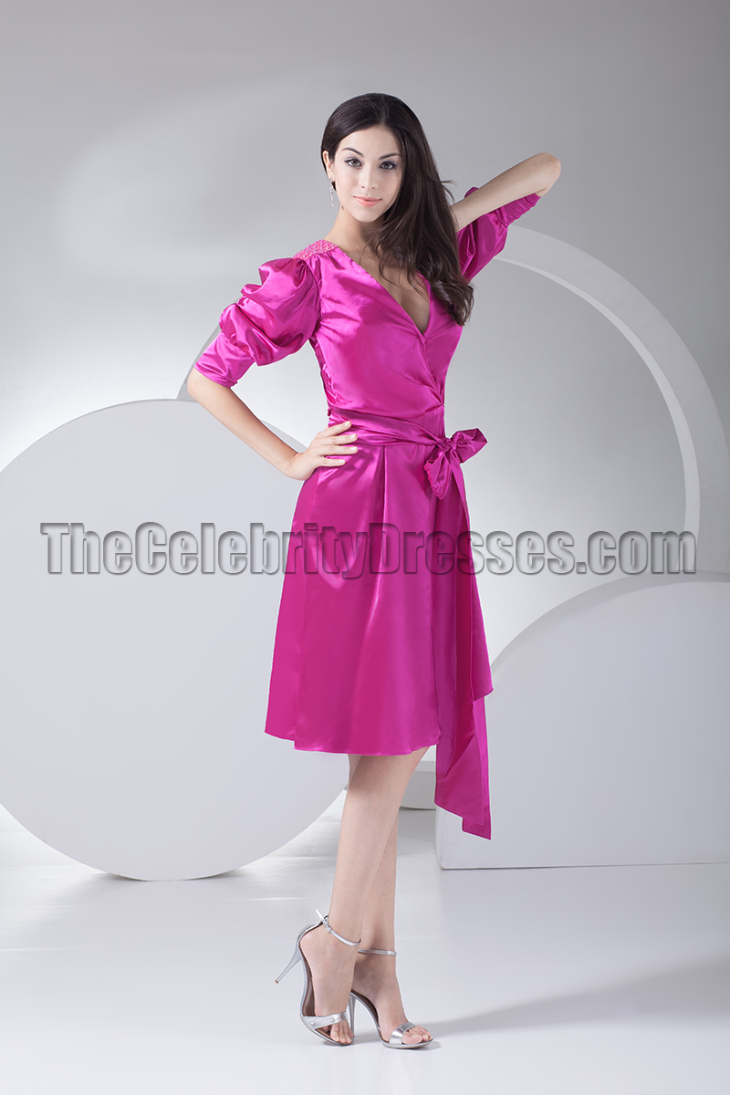 Chic Fuchsia Knee Length Cocktail Party Graduation Dresses ...