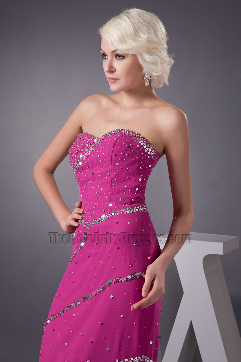 Fuchsia Strapless Formal Dress Prom Gown With Beadwork ...