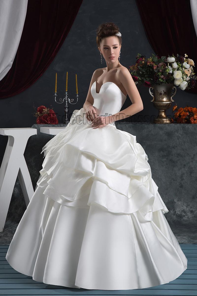 Glamorous Floor Length Ball Gown Strapless Wedding Dresses - TheCelebrityDresses