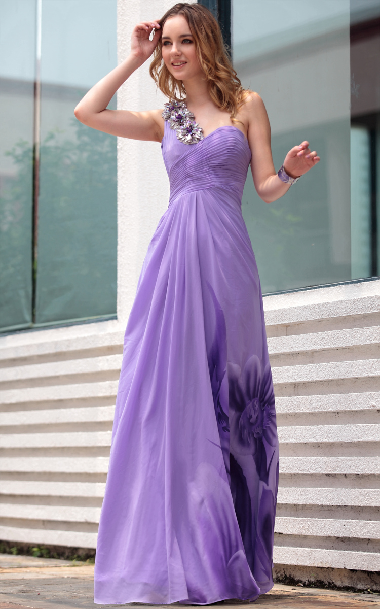 5cba2e0b20ac Glamorous Purple Print One Shoulder Formal Dress Prom Evening Gown -  TheCelebrityDresses