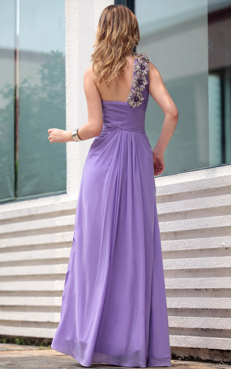 Glamorous Purple Print One Shoulder Formal Dress Prom Evening Gown ...