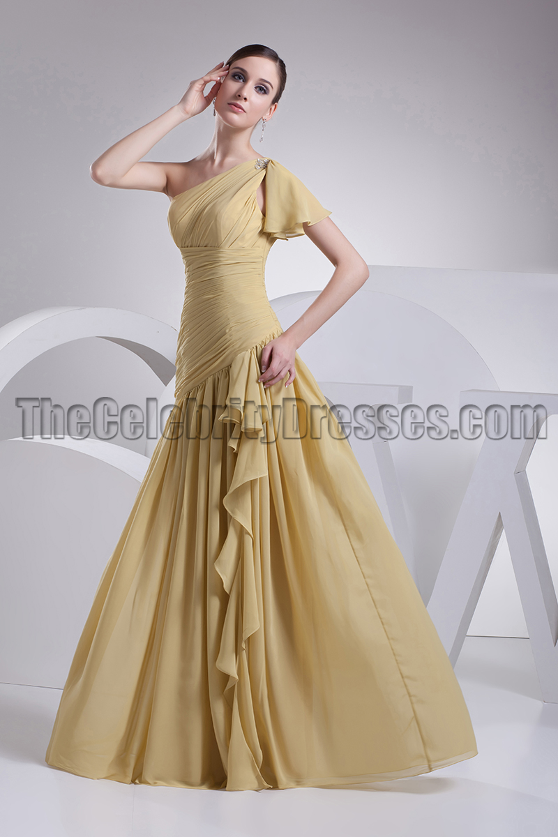Gold one shoulder chiffon prom gown bridesmaid dresses gold one shoulder chiffon prom gown bridesmaid dresses thecelebritydresses ombrellifo Gallery